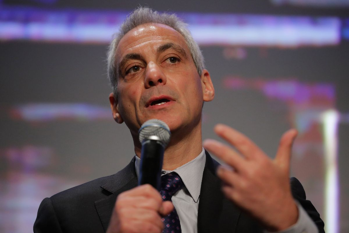 Chicago Mayor Rahm Emanuel participates in a panel discussion during the U.S. Conference of Mayors 84th Winter Meeting
