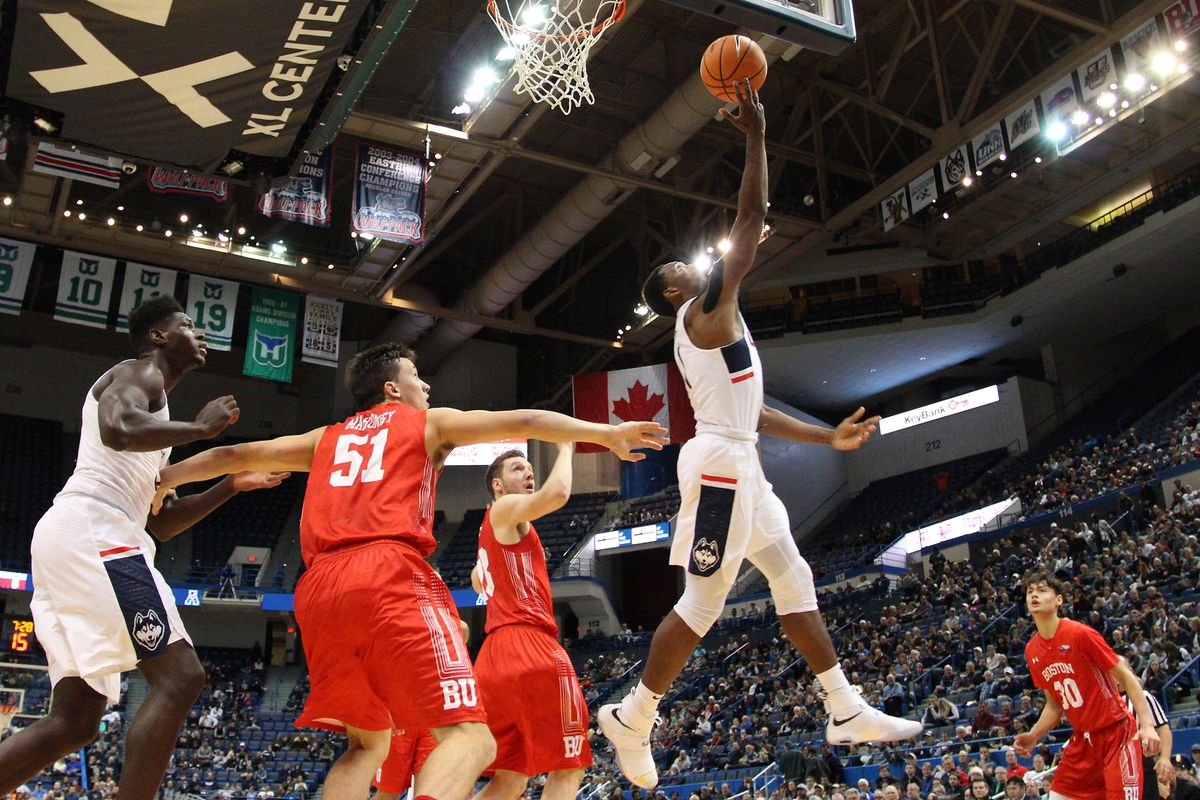 UConn's Christian Vital (1) goes in for a layup.