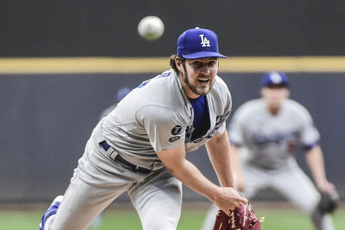 Los Angeles Dodgers pitcher Trevor Bauer pitches in the first inning against the Milwaukee Brewers at American Family Field.