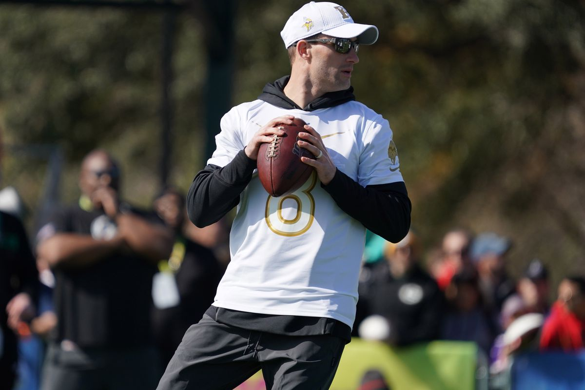 Minnesota Vikings quarterback Kirk Cousins throws the ball during NFC practice at ESPN Wide World of Sports.