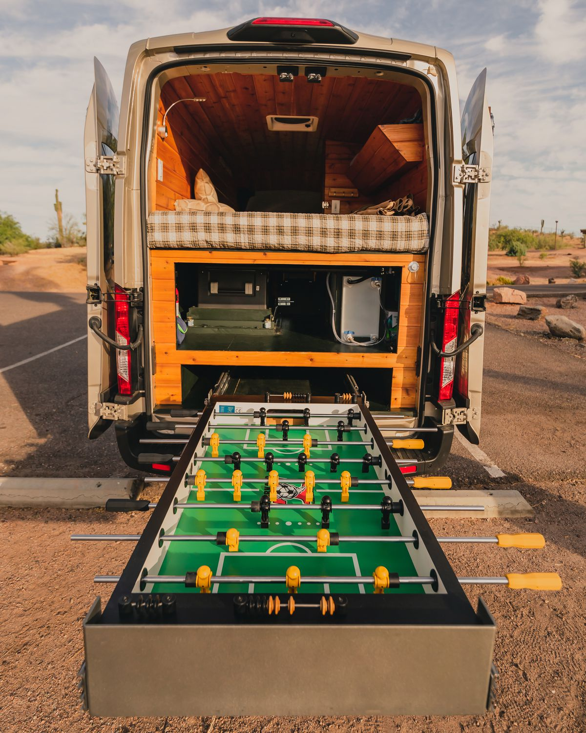 Inside the Custom Ford Camper - the all important Foosball table!