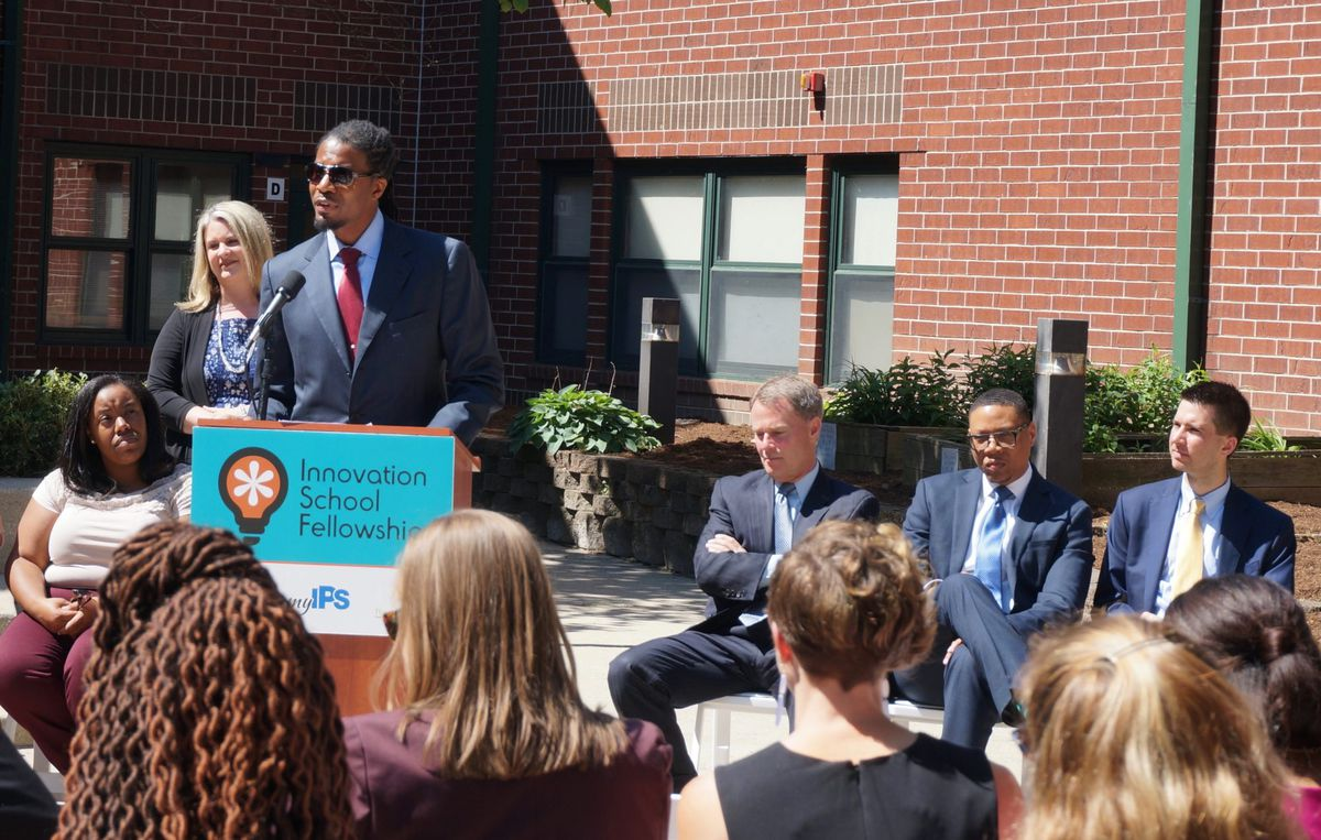 Ignite Achievement Academy is one of 20 innovation schools that are transforming Indianapolis. At an event last spring, city education leaders including Mayor Joe Hogsett, Superintendent Lewis Ferebee, and Mind Trust CEO Brandon Brown, gathered at the school.