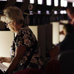 Brenda Hix, Tuolumna, CA., does genealogy work at the LDS Family History Library in Salt Lake City  Thursday, Sept. 15, 2011.