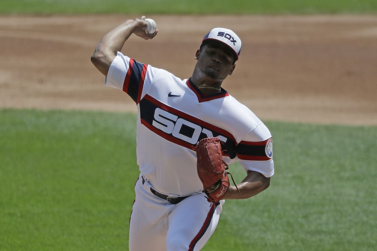 Reynaldo Lopez throws against the Minnesota Twins during the first inning on July 26, 2020. (AP Photo/Nam Y. Huh)