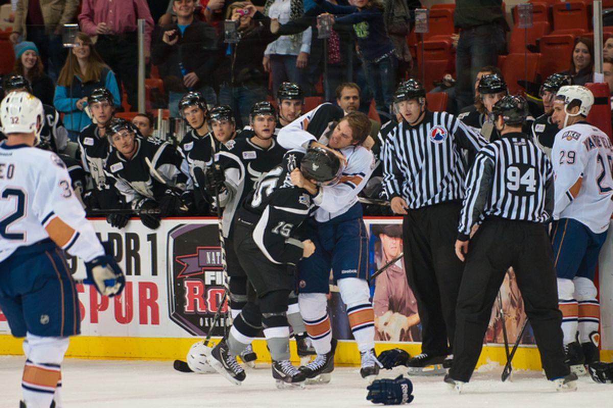 """An Alex Plante fight, captured perfectly by Rob Ferguson. Photo courtesy of (who else) <a href=""""http://www.okchockeyphotos.com"""" target=""""new"""">Rob Ferguson Photography</a>. All rights reserved."""