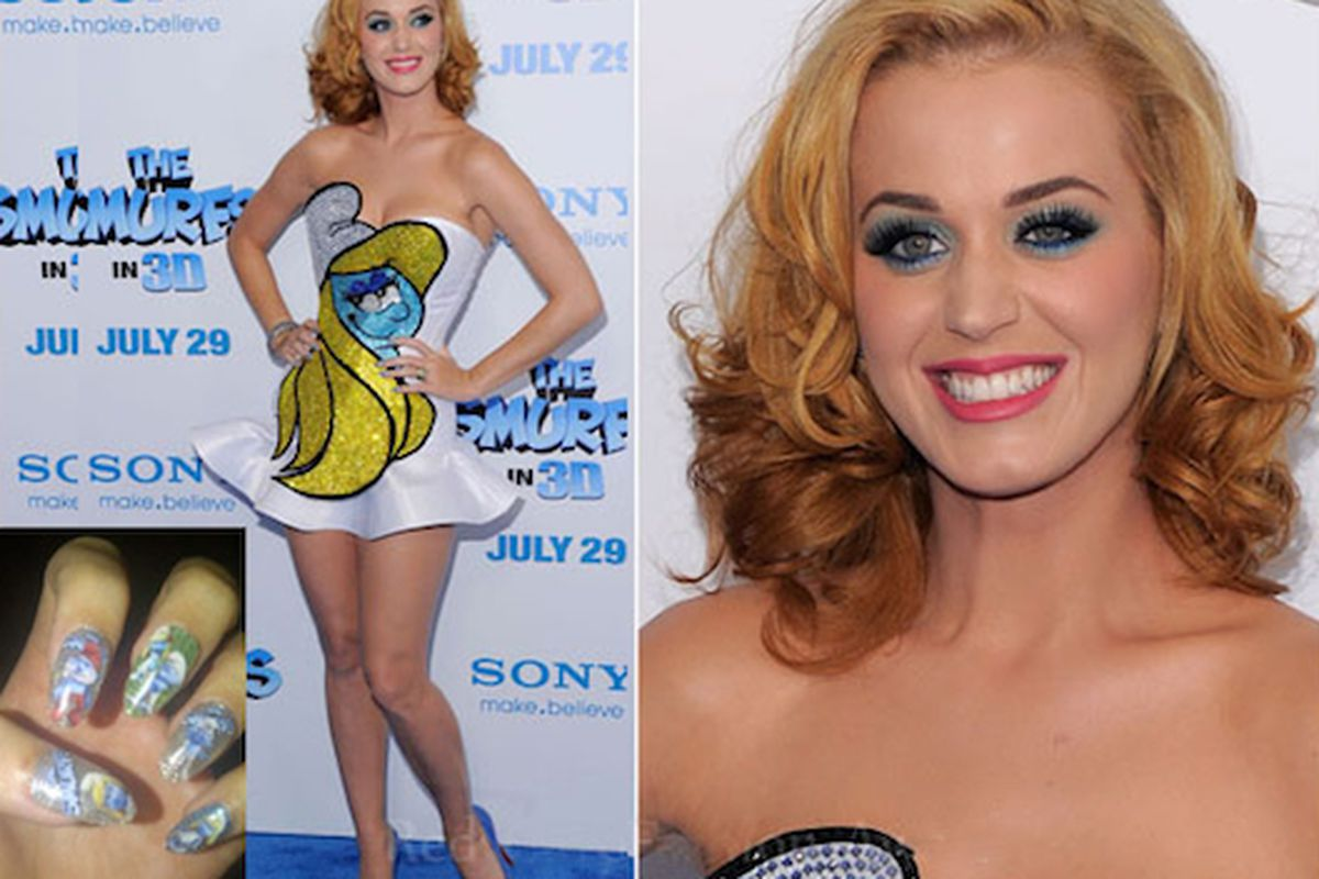 """Was she out of blue body paint? Image via <a href=""""http://fashionrules.com/2011/07/katy-perry-goes-blond-with-the-blonds-and-the-smurfs/"""">Fashion Rules</a>"""