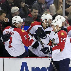 Florida Panthers left wing Tomas Fleischmann (14), of the Czech Republic ,greets teammates after scoring a goal during the first period of an NHL hockey game against the Detroit Red Wings in Detroit, Sunday, April 1, 2012.