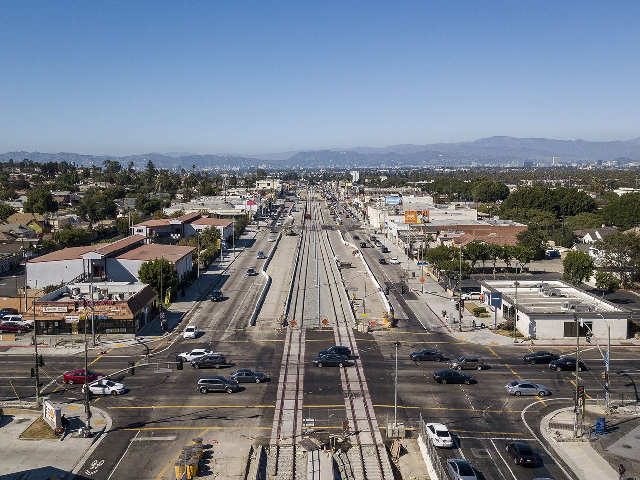 Looking north at the intersection of Crenshaw and Slauson, which will be renamed Nipsey Hussle Square. Out of view on the southwest corner is the strip mall Hussle purchased in February.