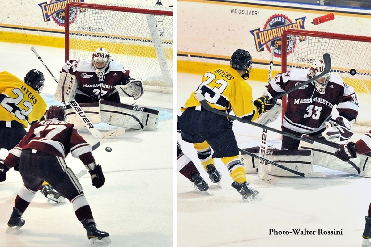 Kevin Boyle lets in a goal against Merrimack this past season.