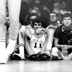 BYU's Kresimir Cosic gets a break on the bench during a BYU basketball game.