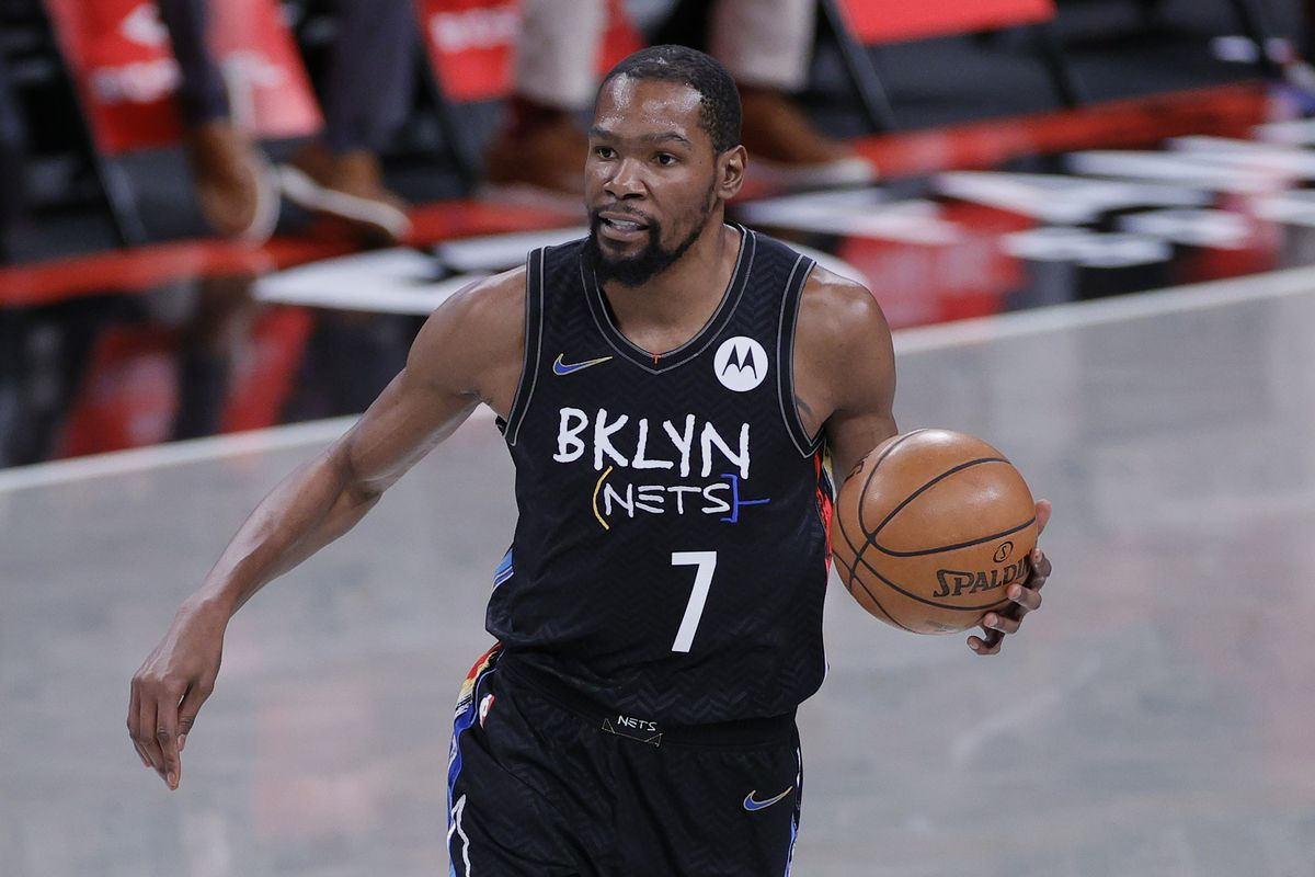 Kevin Durant of the Brooklyn Nets dribbles during the first half against the Cleveland Cavaliers at Barclays Center on May 16, 2021 in the Brooklyn borough of New York City.
