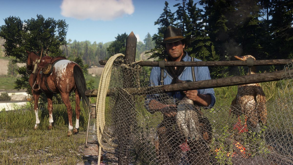 Red Dead Redemption 2 - Arthur Morgan hanging ducks on a fence