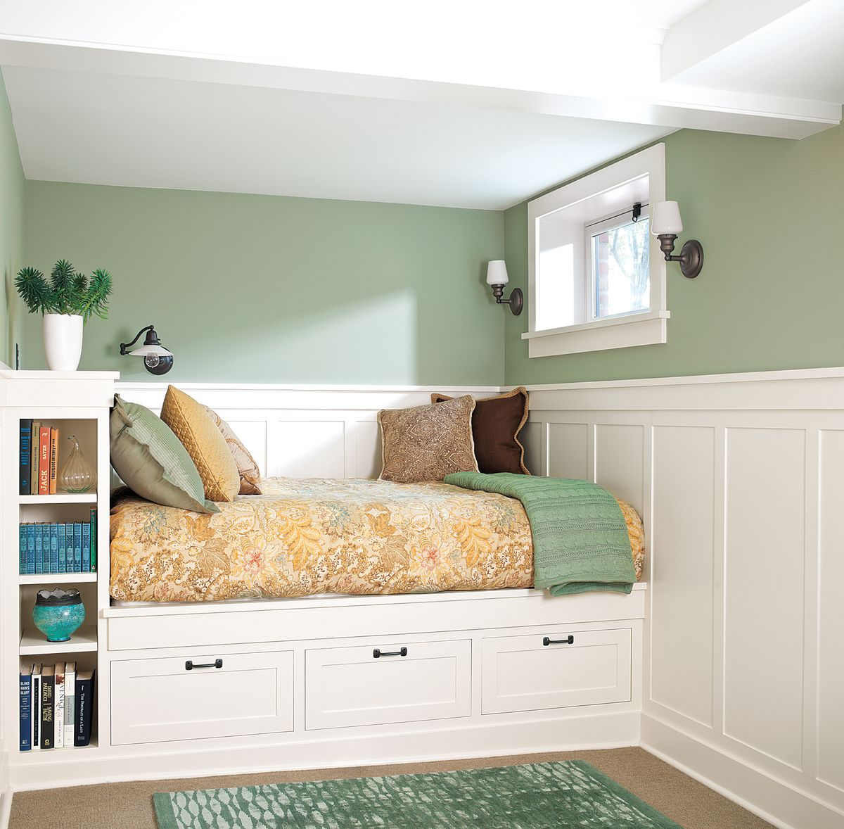 Bed and shelves built into a finished basement.