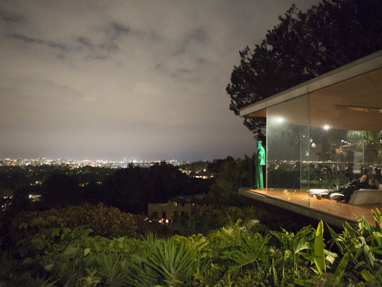 At the Perrin-curated <em>Architectones</em> installation at the Sheats-Goldstein Residence, a sculpture of John Lautner echoes a famous photo taken during construction of the house.