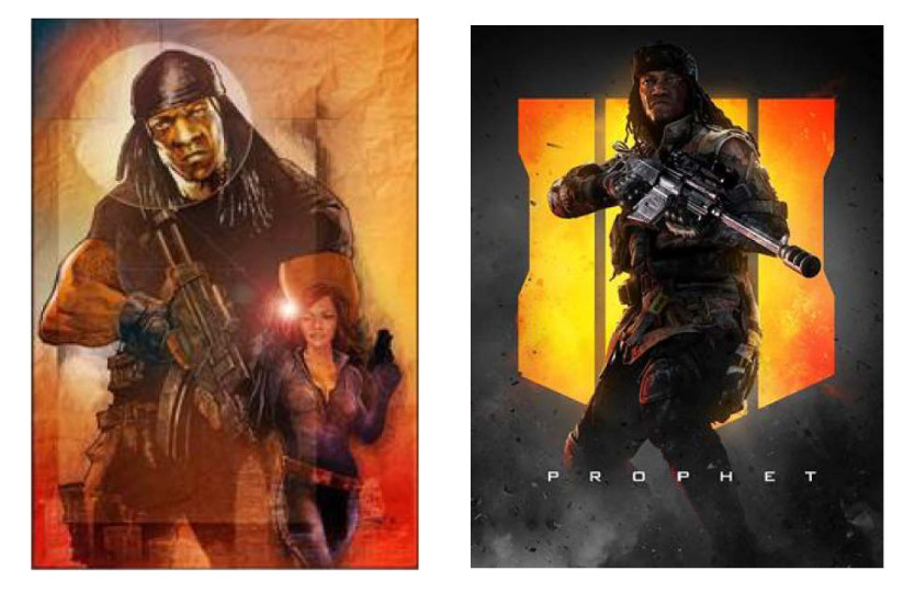 G.I. Bro Drawing (left), Call of Duty: Black Ops 4 Image of the Prophet (right)