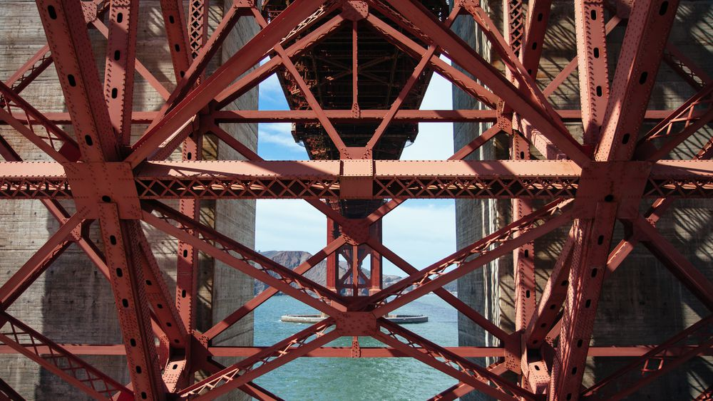 Iron working of Golden Gate Bridge's underside.