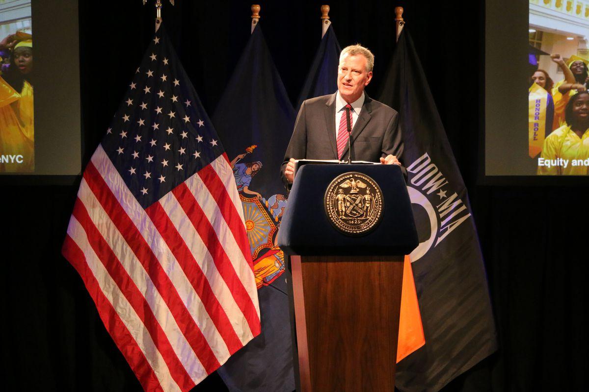 Mayor Bill de Blasio announced new education initiatives for New York City schools at Bronx Latin in September.