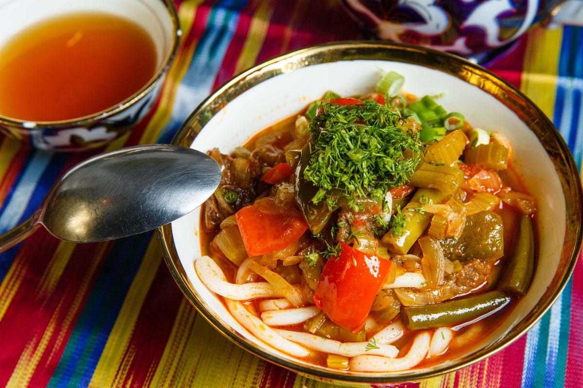 Lagman soup boasts homemade noodles.
