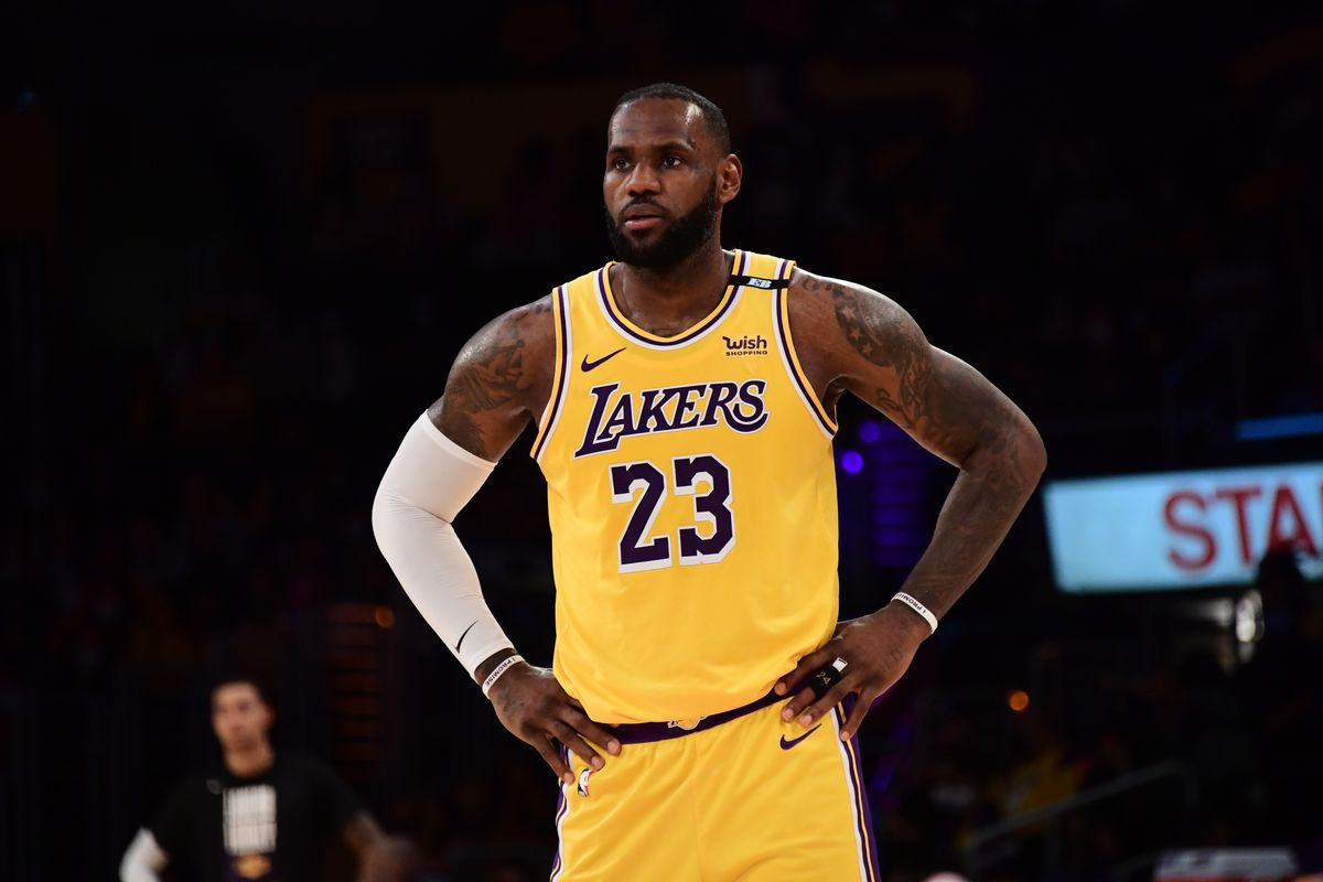 LeBron James of the Los Angeles Lakers looks on against the Phoenix Suns during Round 1, Game 6 of the 2021 NBA Playoffs on June 3, 2021 at STAPLES Center in Los Angeles, California.
