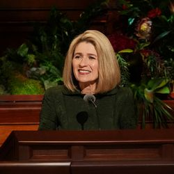 President Camille N. Johnson, Primary general president of The Church of Jesus Christ of Latter-day Saints, speaks during the Sunday morning session of the 191st Semiannual General Conference in the Conference Center in Salt Lake City on Sunday, Oct. 3, 2021.