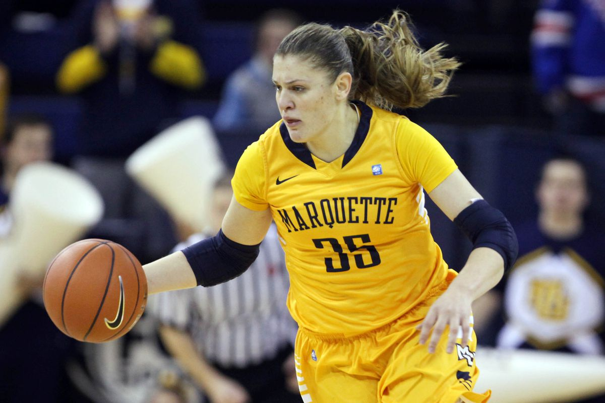 Cristina Bigica tied for the MU lead with 16 points and six rebounds.