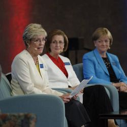 """From left, Sister Rosemary M. Wixom, Primary general president; Sister Linda K. Burton, Relief Society general president; and Sister Bonnie L. Oscarson, Young Women general president, during the 2015 Seminar for New Mission Presidents they shared """"Reflections on Serving Together."""""""