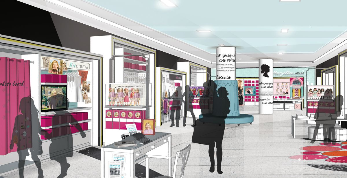 The historical dolls of the BeForever line on display in the rendering of the new flagship .