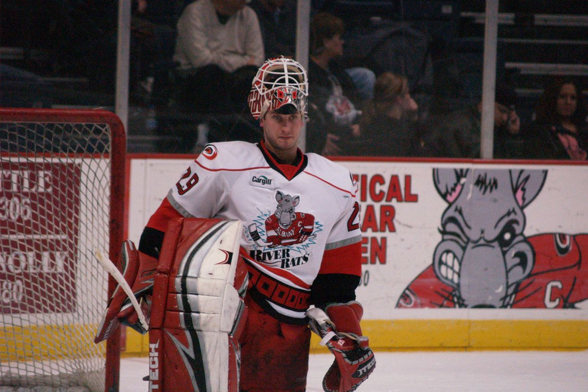 """Michael Leighton as the #1 goalie for the 2007-08 Albany River Rats (photo by <a href=""""http://www.flickr.com/photos/sandpiper214/2961789011/in/set-72157607108208826"""" target=""""new"""">sandpiper</a>)"""