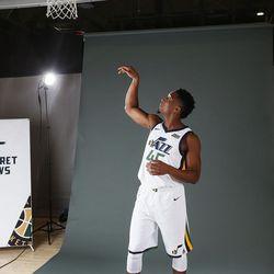 Utah Jazz player Donovan Mitchell during media day in Salt Lake City on Sept 25, 2017.