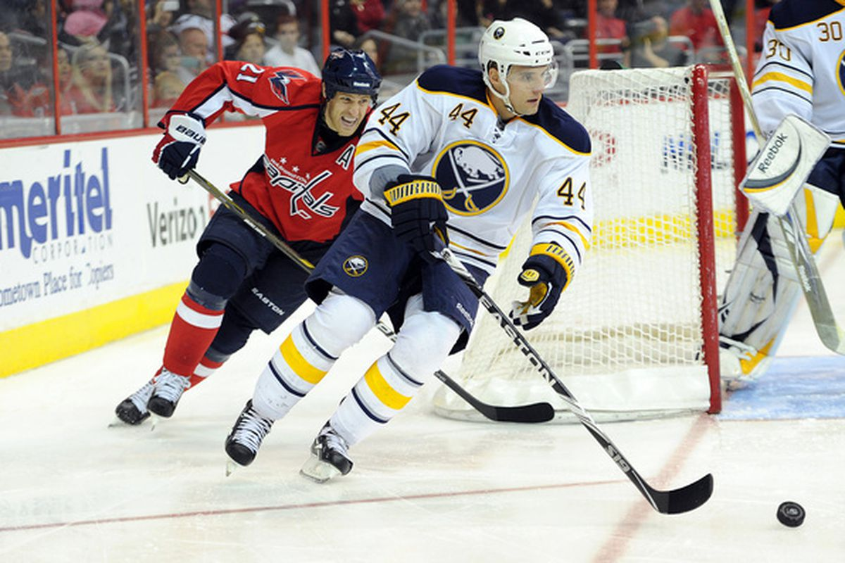 WASHINGTON - NOVEMBER 17:  Andrej Sekera #44 of the Buffalo Sabres brings the puck around the net against Brooks Laich #21 of the Washington Capitals at the Verizon Center on November 17 2010 in Washington DC.  (Photo by Greg Fiume/Getty Images)