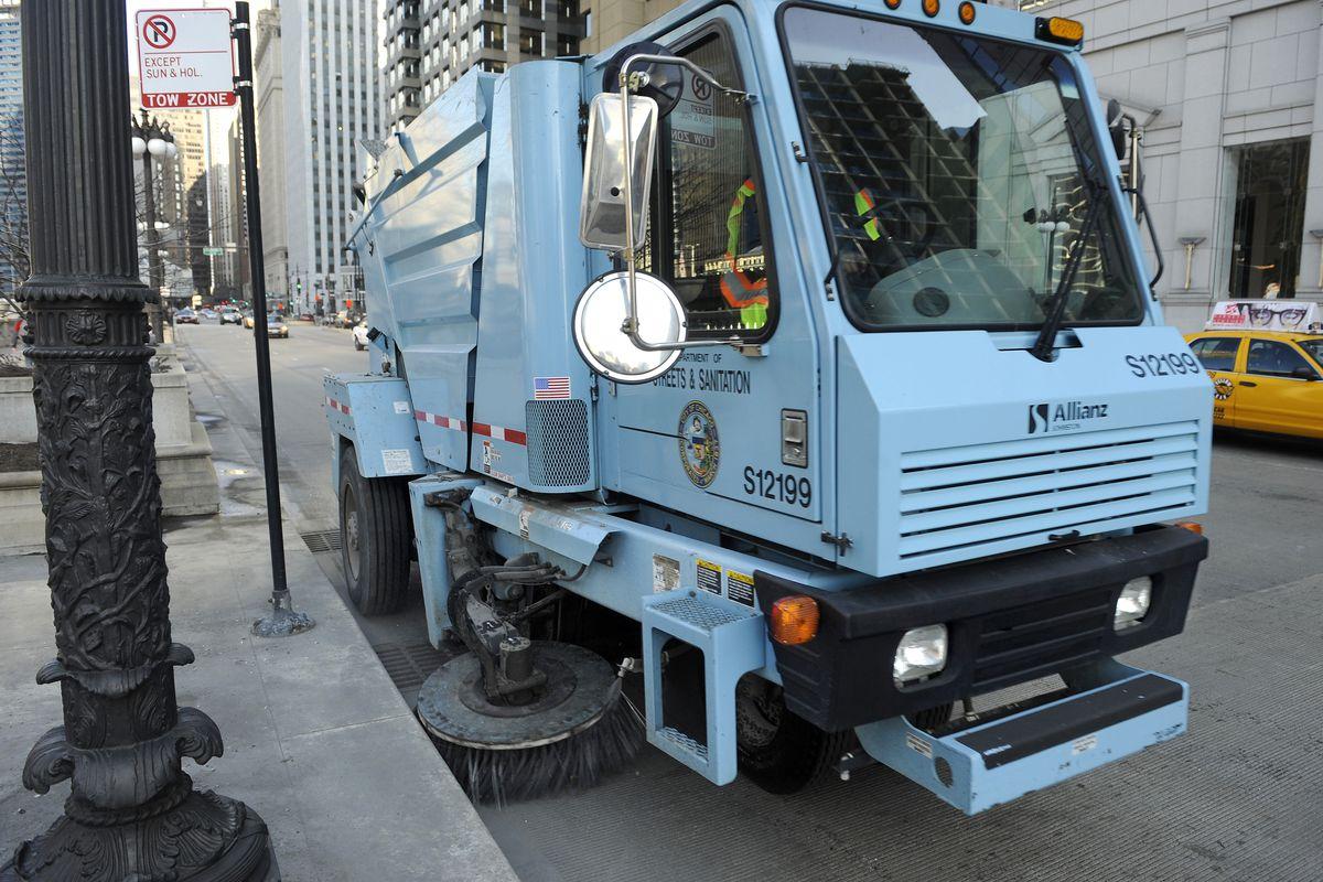 A Chicago street sweeper on Wacker Drive.