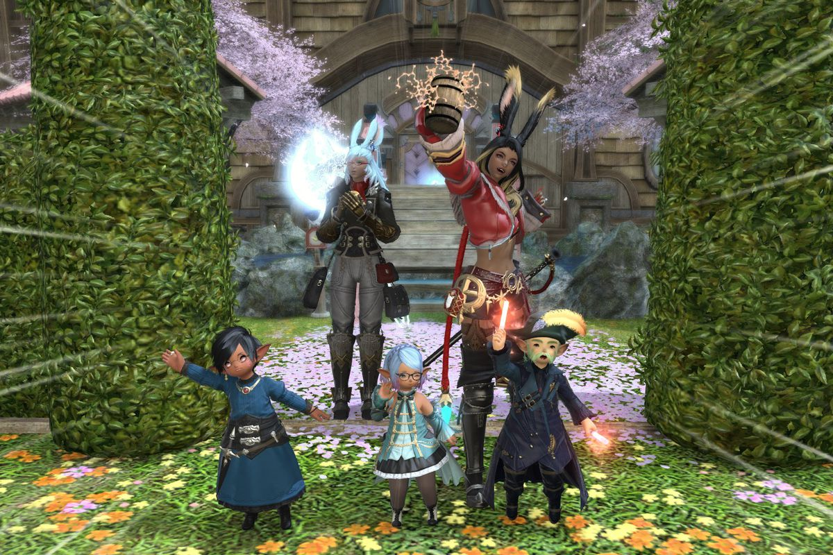 A group of Final Fantasy characters celebrate in front of a home