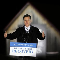 Republican presidential candidate and former Massachusetts Gov. Mitt Romney speaks during a campaign event in front of a barn at Ida Lee Park in Leesburg, Va., Oct. 17, 2012.