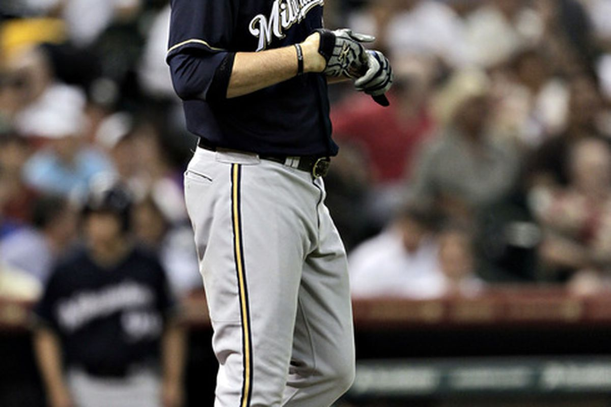 HOUSTON - MAY 16:  Corey Hart #1 of the Milwaukee Brewers walks away from the plate after striking out in the sixth inning against the Houston Astros at Minute Maid Park on May 16, 2012 in Houston, Texas.  (Photo by Bob Levey/Getty Images)