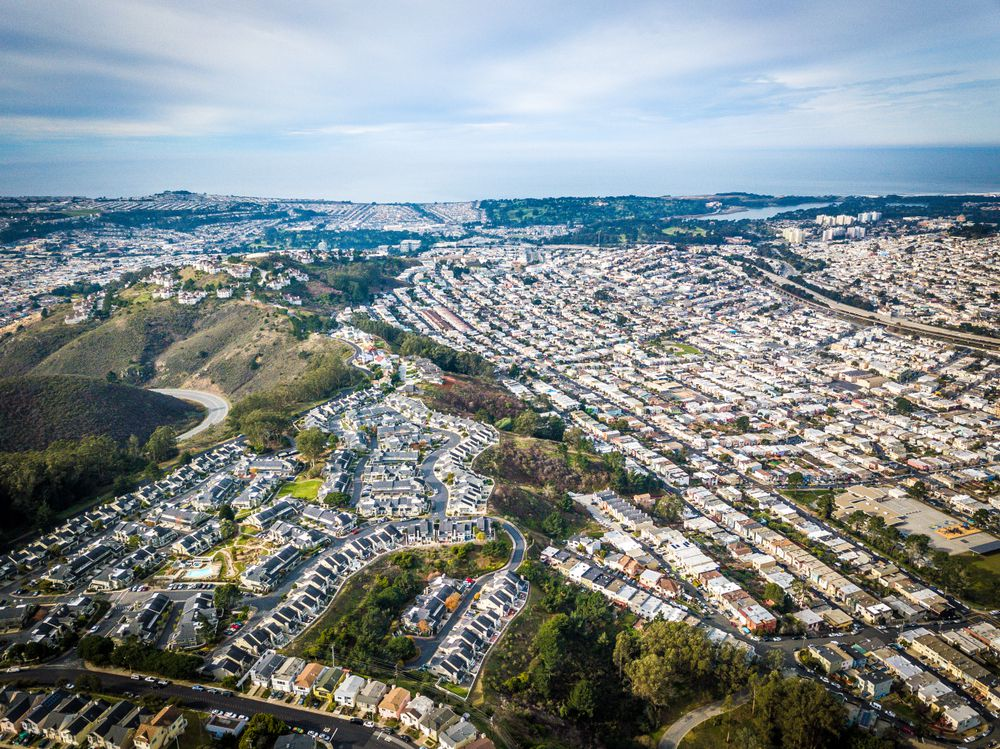 An aerial photo of homes dotting the SF peninsula.