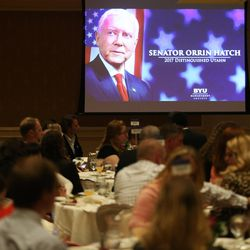 Sen. Orrin Hatch receives the 2017 Distinguished Utahn Award given by BYU Management Society in Salt Lake City on Thursday, June 1, 2017.