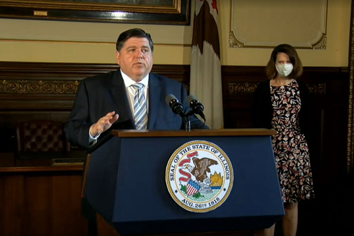 Gov. J.B. Pritzker discusses the Moody's credit rating upgrade in Springfield on Tuesday.