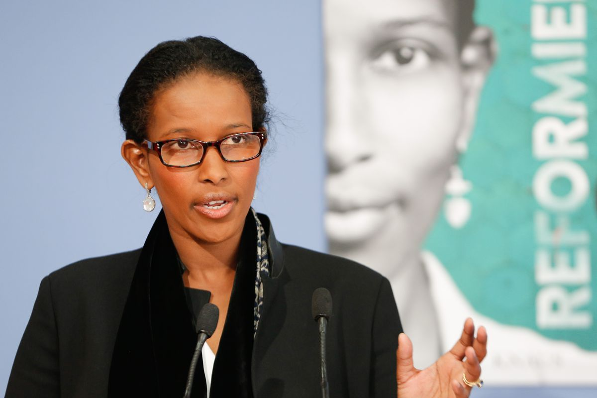 Author Ayaan Hirsi Ali attends a book presentation of Reformiert Euch! Warum der Islam such aendern muss — Refurbished you! Why Islam must change, on April 20, 2015, in Berlin, Germany.