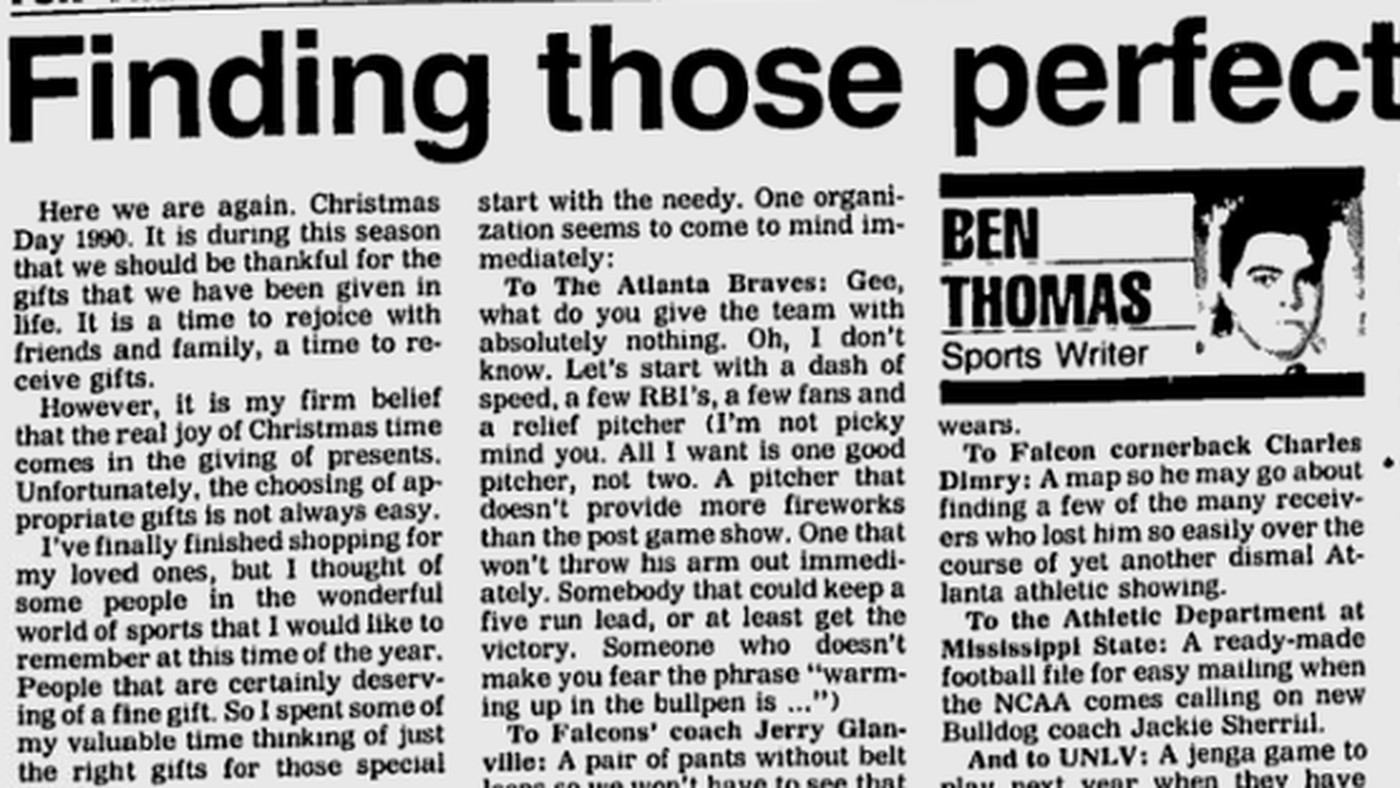 In 1990, Gadsden (AL) Sports Columnist Ben Thomas Was A Scrooge