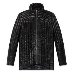 "<b>Helmut Lang</b>, <a href=""http://www.helmutlang.com/petal-leather-puff-coat/E07HW406,default,pd.html?start=5&cgid=womens-outerwear"">$1,425</a>"