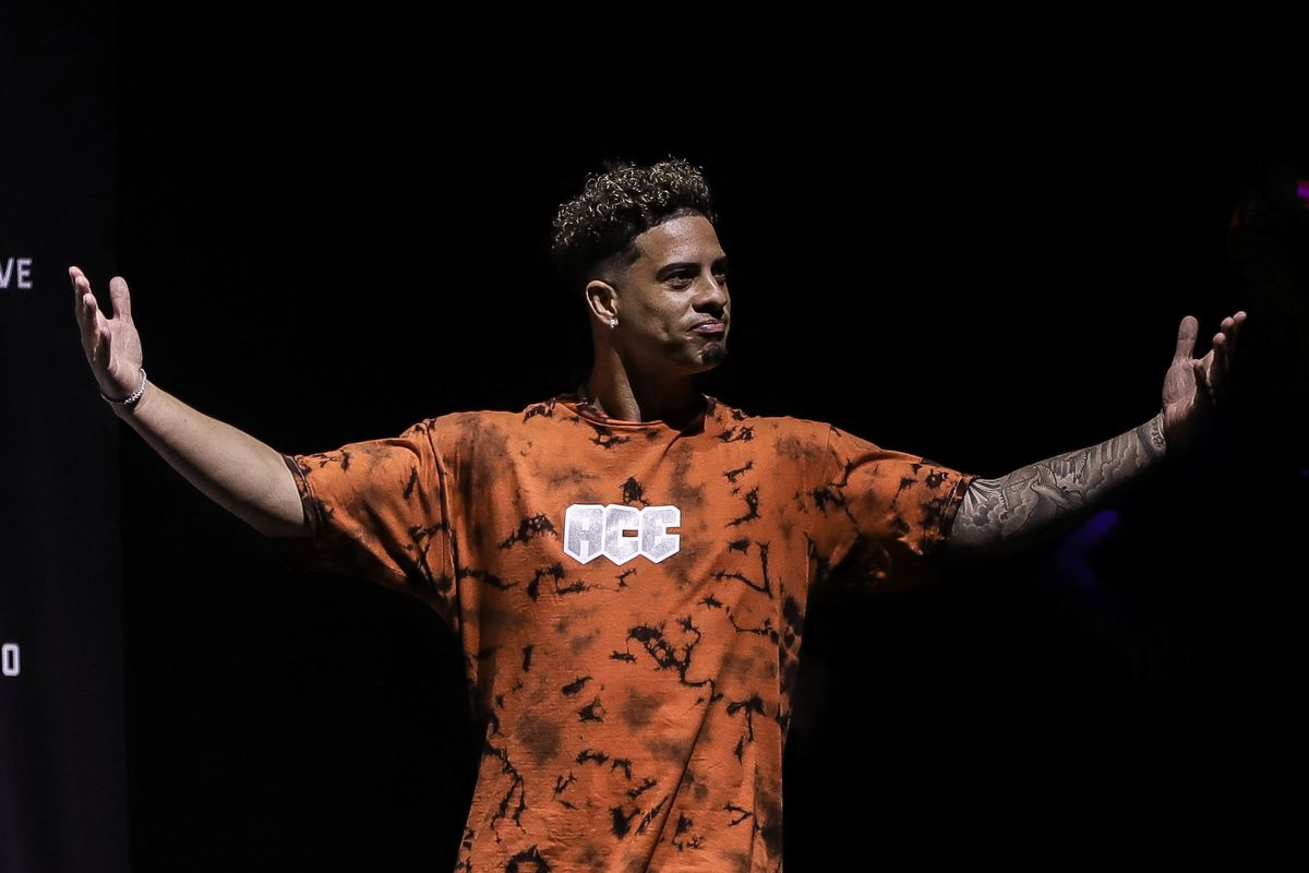 Austin McBroom arrives at the LiveXLive's Social Gloves: Battle Of The Platforms Pre-Fight Weigh-In at Seminole Hard Rock Hotel & Casino on June 11, 2021 in Hollywood, Florida.
