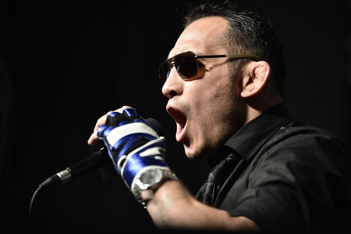 Tony Ferguson interacts with media during the UFC 249 press conference at T-Mobile Arena on March 06, 2020 in Las Vegas, Nevada.