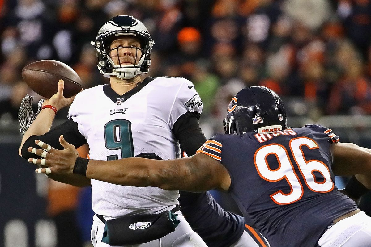 The Bears hope former Super Bowl MVP Nick Foles (9, passing under pressure from Bears defensive end Akiem Hicks in the wild-card playoff game in 2019) can help solidify their quarterback situation, but that's no sure thing.