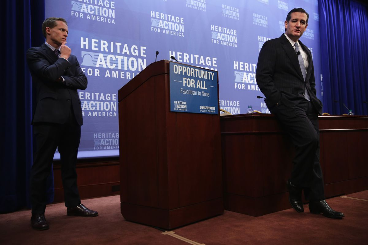 Heritage Action COO Tim Chapman and Sen. Ted Cruz, at Monday's policy summit