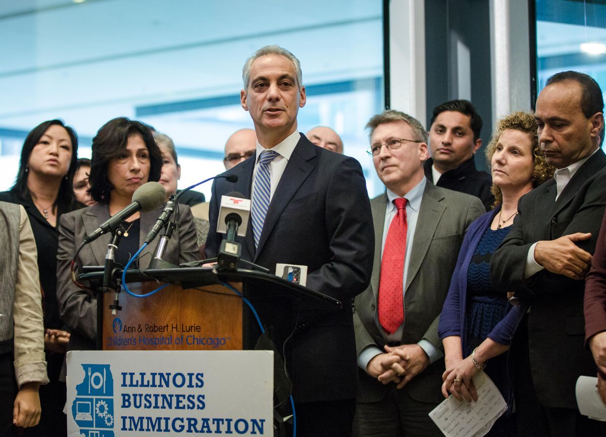 Mayor Rahm Emanuel speaks at a press conference for support to immigrants and sanctuary cities at Lurie Children's Hospital on Nov. 14, 2016.