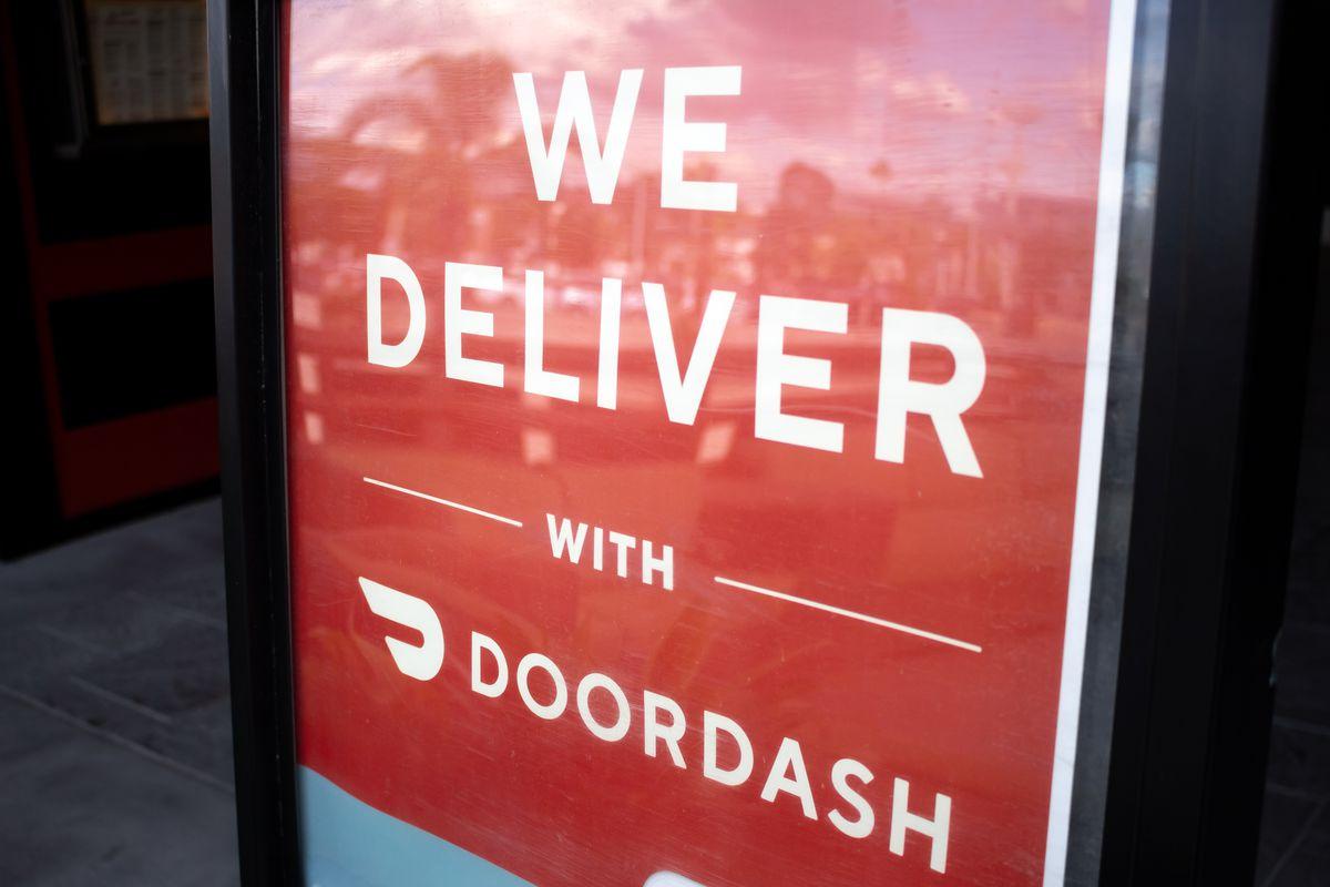 A red sign for DoorDash