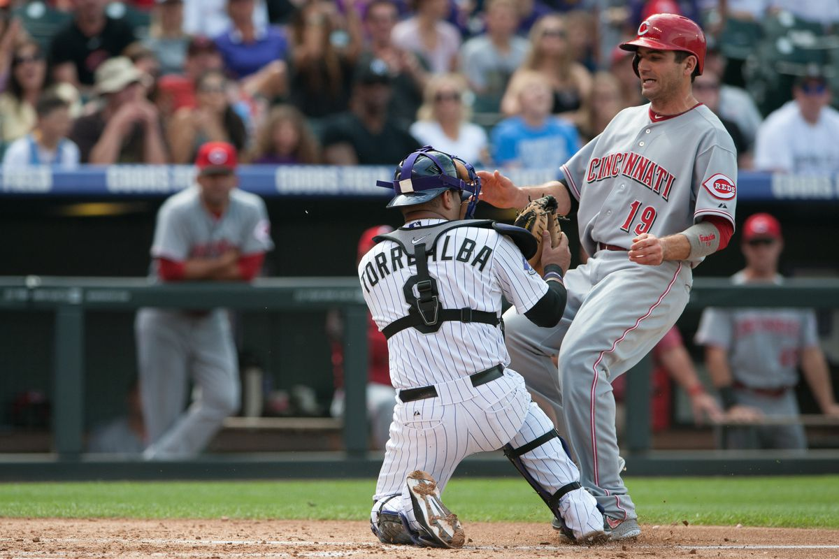 And look! He's good at tagging out Joey Votto, a useful thing in the N.L. Central!