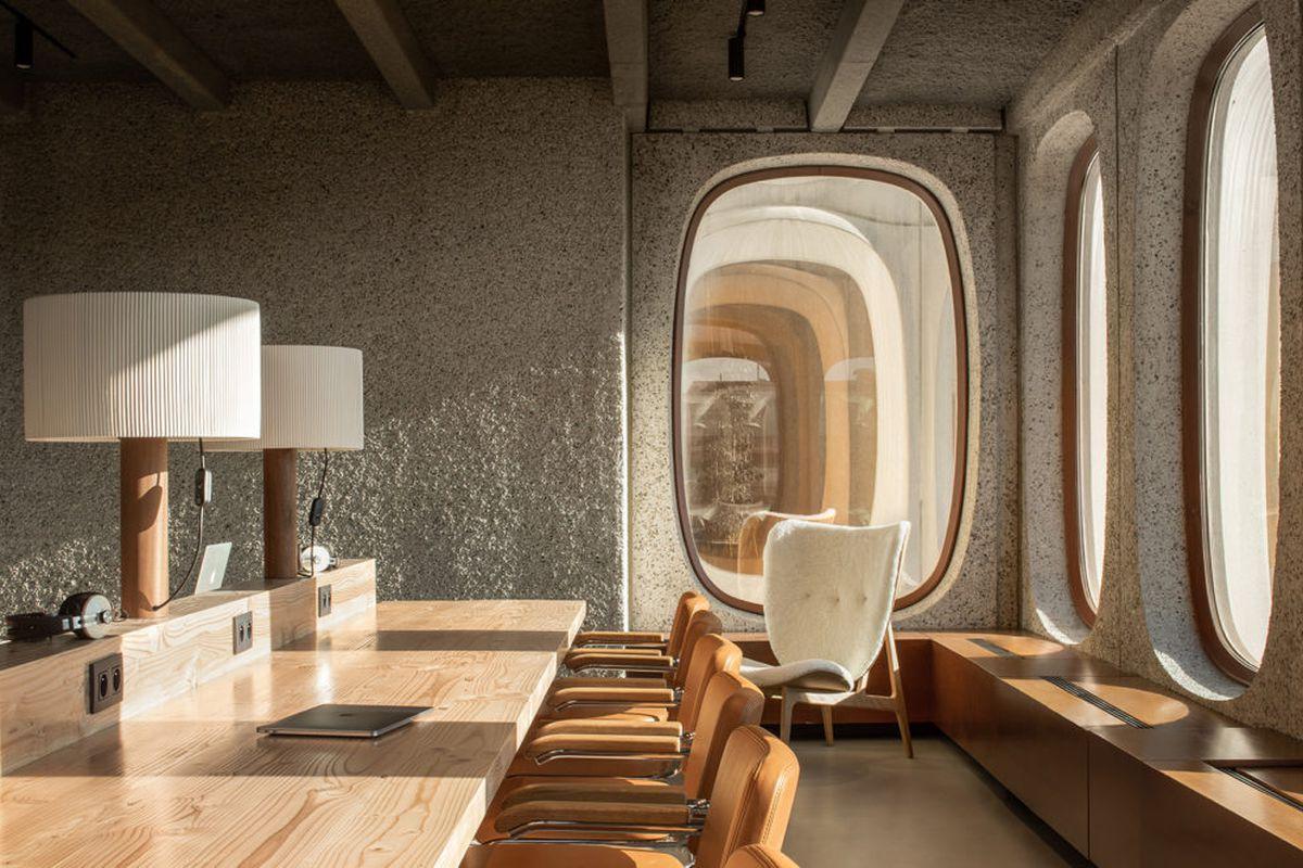 Desk near oval window