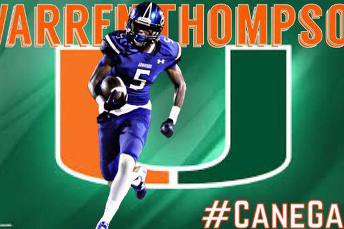 Seffner (FL) Armwood WR Warren Thompson, a 2018 recruit, is the latest player to commit to the Hurricanes