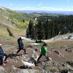 Mikaela Matthews, Shelby Dyer and Lane Stoltzner hike with Teton Tillie, the dog, on the Blood Lake Trail near Guardsman Pass on Wednesday, Sept. 20, 2017.
